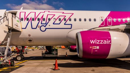 A view of a Wizz air plane at Luton Airport in the UK