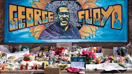 The George Floyd Memorial outside Cup Foods at Chicago Ave and E 38th St in Minneapolis, Minnesota