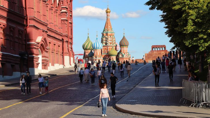 Kremlin passage with a view of St. Basil's Cathedral on Red Square in Moscow, summer day. Russia Moscow June 2020.