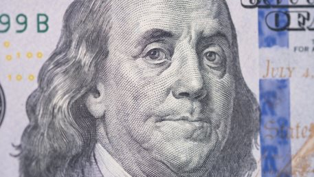 The Face of Benjamin Franklin on a Hundred Dollar Bill Note