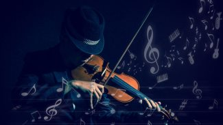Violin player in dark studio with music notes or melody, Musical concept