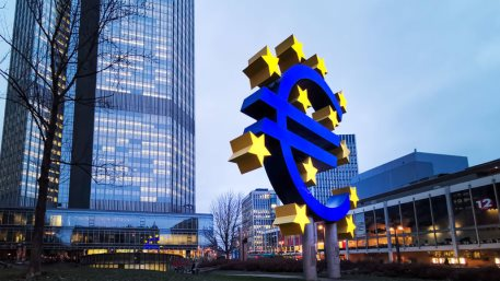 Frankfurt, Germany - Euro Sign. European Central Bank (ECB) is the central bank for the euro and administers the monetary policy of the Eurozone in Frankfurt