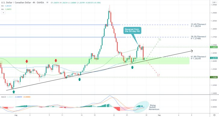The price action of the USDCAD pair is currently consolidating just above the 61.8 per cent Fibonacci retracement level, the ascending trend line
