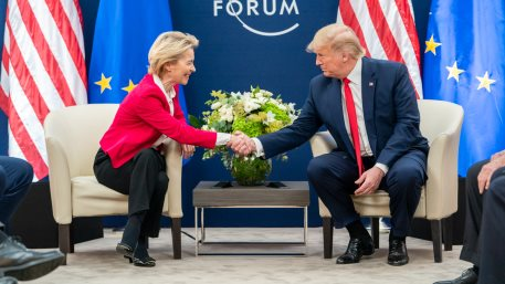 President Donald J. Trump meets with the President of the European Commission Ursula von der Leyen during the 50th Annual World Economic Forum