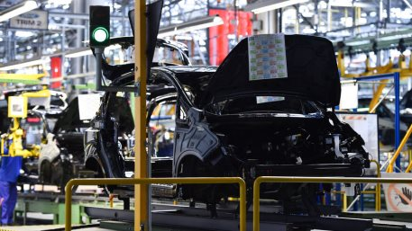 Car bodies on the production line inside German automobile factory