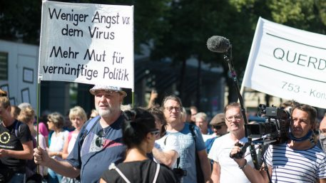 Demonstration in Berlin, Germany. Protest against corona regulations