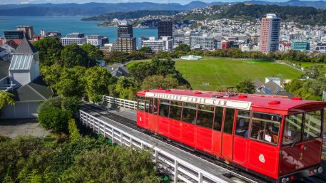 Wellington city cable car in New Zealand