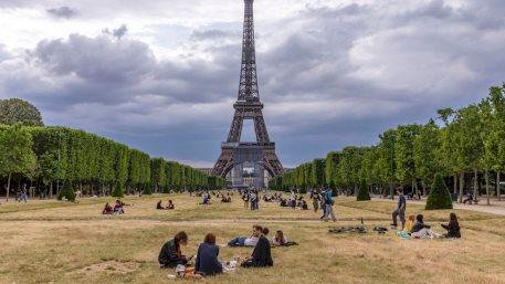 Parisians return to relax on the lawns of the Champs de Mars in front of Eiffel tower after the lockdown due to covid-19