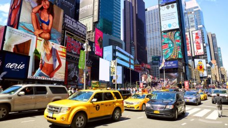 Cars and taxi cabs on 7th Avenue and Broadway at Times Square