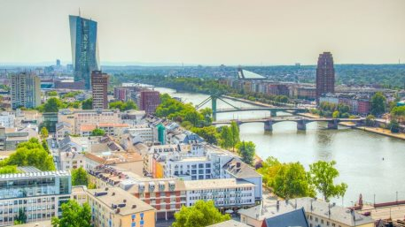 Aerial view of Frankfurt dominated by the new headquarters of ECB, Germany