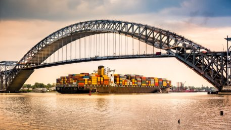 Large container ship passes under Bayonne Bridge, New Jersey
