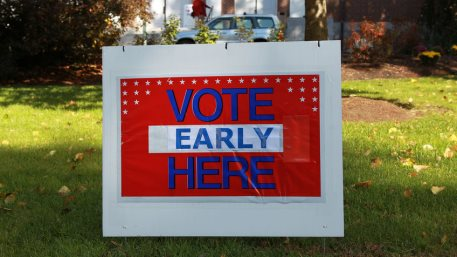 VOTING EARLY HERE Sign during American election