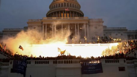 An explosion caused by a police munition at the Capitol Building, January 6. REUTERS