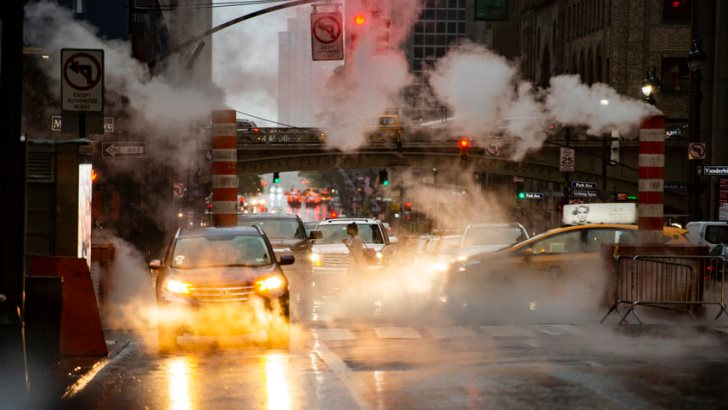 New York, USA, October 04, 2020. Street traffic through the busy streets of Manhattan during the Covid-19 outbreak