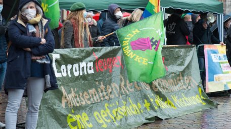 Demonstration in Trier on the 20.01.2021 against the covid-19 regulations in Germany, protest of the Antifa and the radical left wing against corona deniers