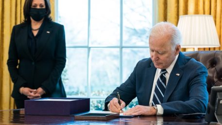 President Biden signs the 'American Rescue Plan', an executive order for a fiscal package of $1.9 trillion