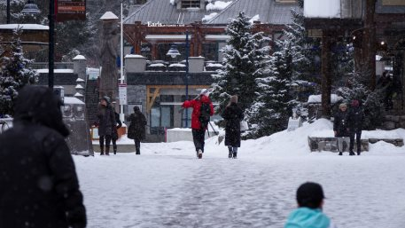 WHISTLER, BC, CANADA. Whistler Village with people during the Covid 19 pandemic.