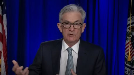 FED Chair Jerome Powell speaking on a virtual press conference on March 17, 2021