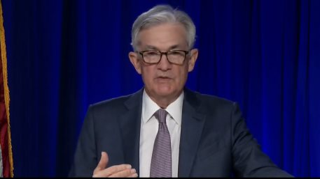 FED Chair Jerome Powell at a video conference following FOMC's last monetary policy meeting in January