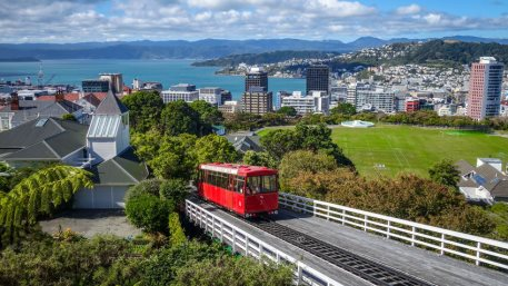 Wellington city cable car in New Zealand. RBNZ eyes solid but uncertain recovery
