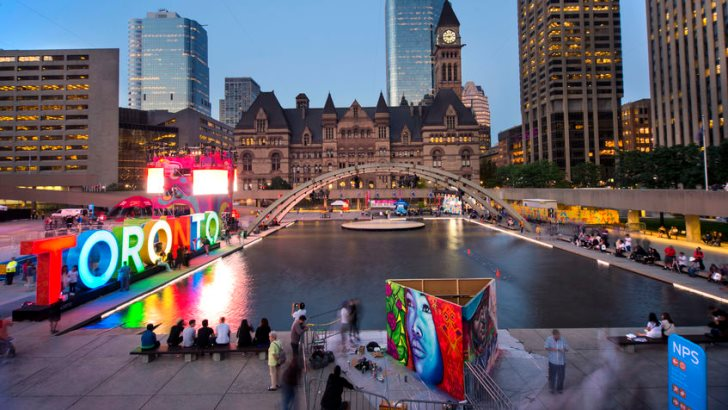 TORONTO,CANADA- Panoramic view of the new Toronto sign in Nathan Phillips Square