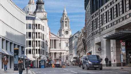 London, UK Fleet Street view. Empty streets City of London during national lockdown. Covid restrictions, social distancing.