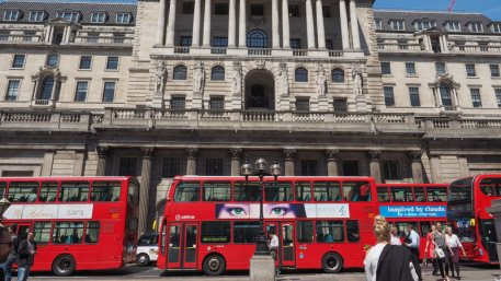 People visiting the Bank of England in London, UK