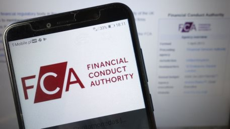 FCA Financial Conduct Authority logo displayed on mobile phone