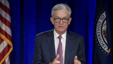 Chair Powell participates in the virtual Federal Open Market Committee (FOMC) press conference on July 28, 2021.